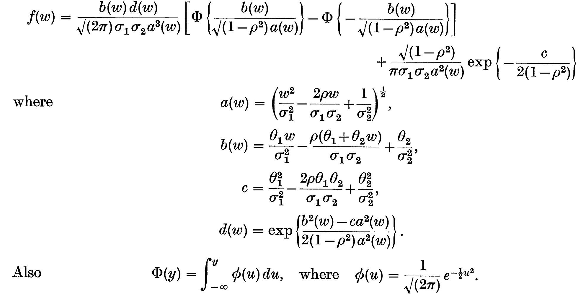正規分布の比(商)の分布 Fieller...