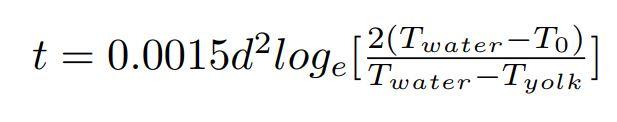 完璧なゆで卵の作り方方程式(Peter Barhamによる)